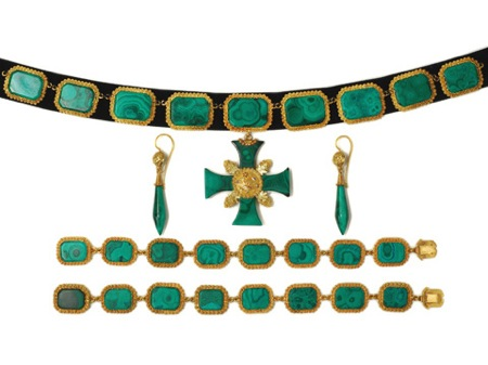The three graces malachite parure