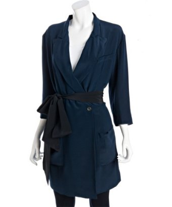 Style #309500601 black silk tie waist long jacket